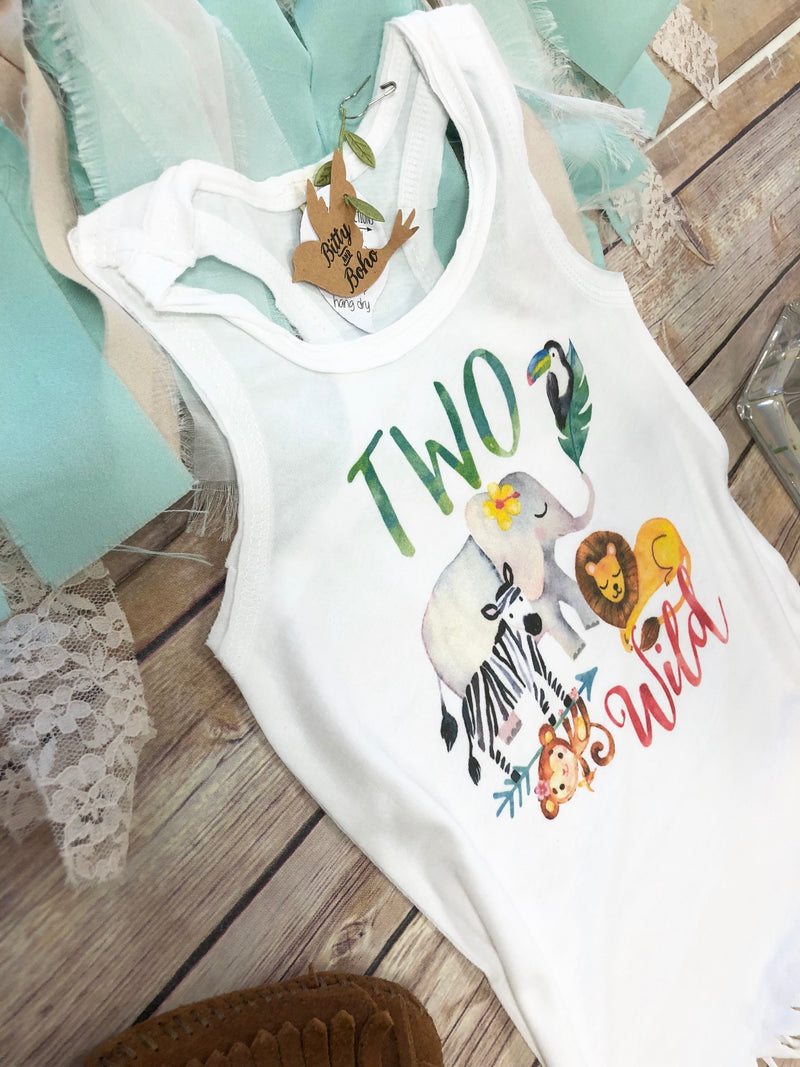 Second Birthday Outfit Girl, Two Wild Shirt Dress, 2nd Birthday Outfit Girl, Zoo Birthday Shirt,Birthday Girl Dress, Zoo Animal Birthday - Bitty & Boho