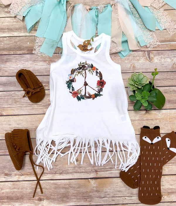 Peace Sign Hippie Baby Dress - Bitty & Boho