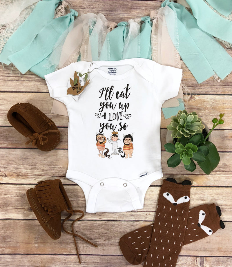 Unique Baby Gift, Monster Onesie®, I'll Eat You Up I Love You So, Baby Shower Gift, Funny Baby Onesies, Take Home Outfit,Unisex Baby Clothes - Bitty & Boho