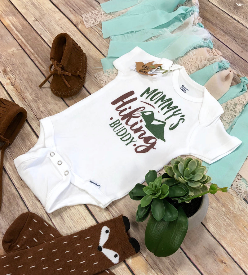 Hiking Onesie®, Baby Boy Clothes, Baby Shower Gift, Cute Onesies, Camping Onesie,  Mothers Day Onesie,Mommys Hiking Buddy Onesie,Mom Onesie - Bitty & Boho