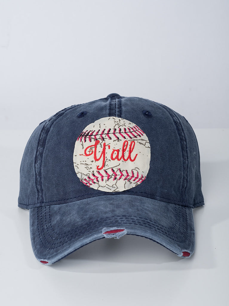 Baseball Y'all Navy Distressed Hat
