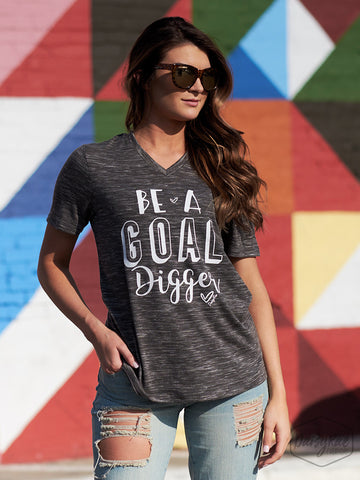 """Be a Goal Digger"" Top - Grey"