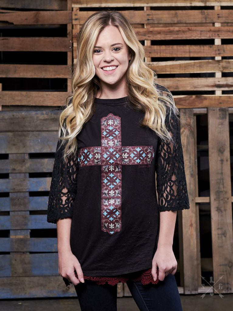 Raglan Top With Cross and Lace