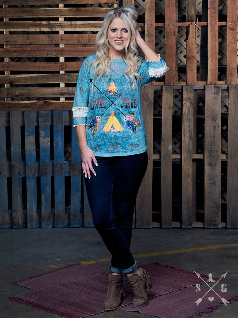 Live Free Arrow & Tassel Tunic