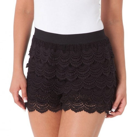 Melrose Crochet Lace Scalloped Shorts - Black