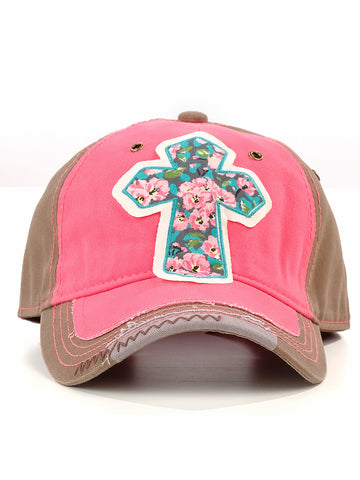 Cherry Blossom Cross Patch Hat