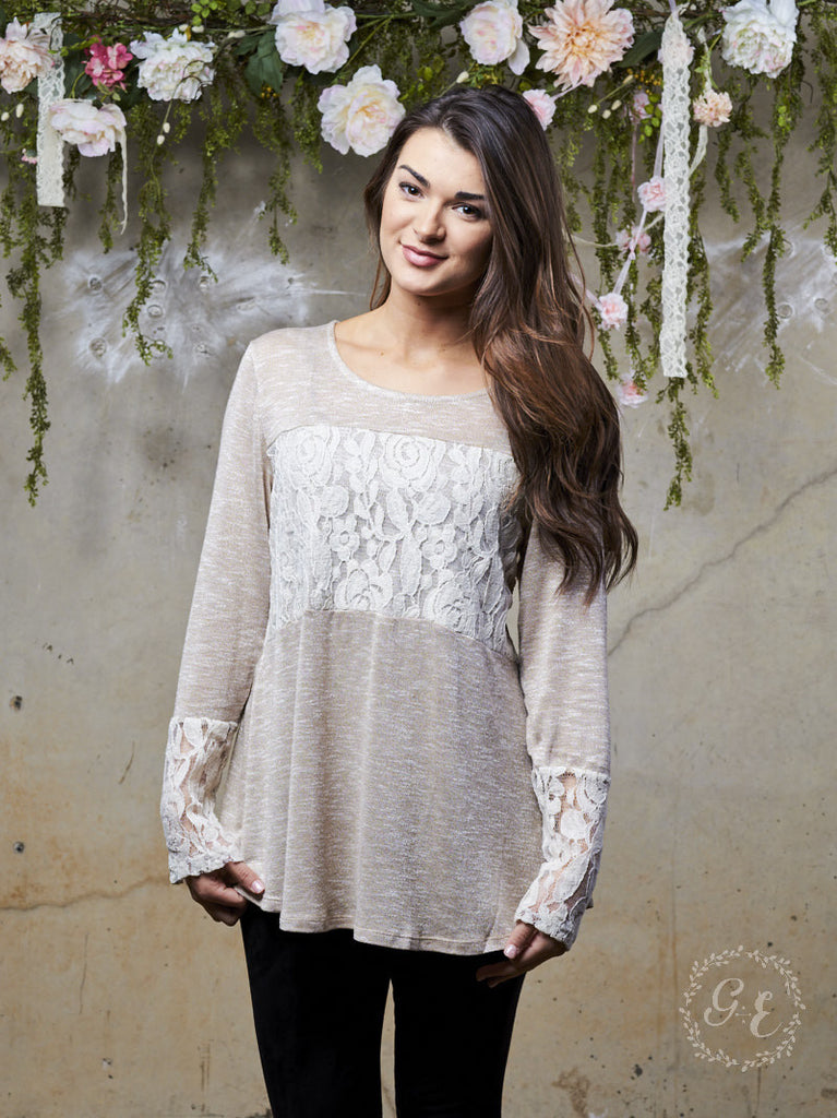 Wrapped in Lace Beige Tunic Top