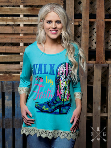 Walk by Faith Aqua Tunic with Cowboy Boot and Lace Trim