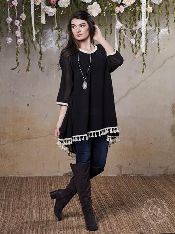Francine Tassel Tunic in Black