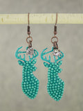 Turquoise Bling Deer Head Earrings