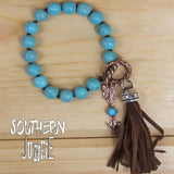Turquoise Bracelet with Brown Tassel - Layered Stitch Boutique - 2