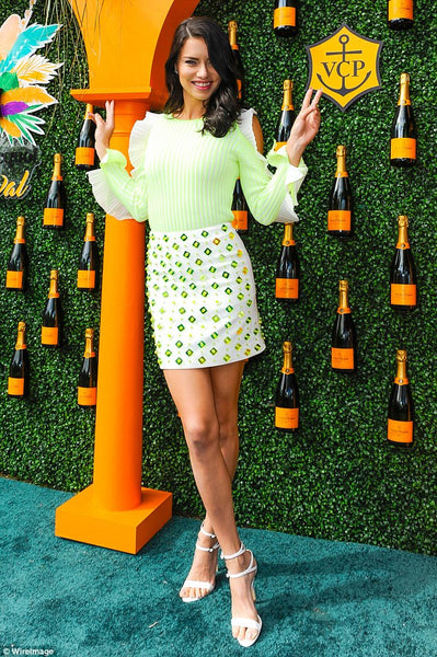 "ADRIANA LIMA WEARING ""BROOKE"" SANDALS TO CO-HOST THE VEUVE CLIQUOT CARNIVAL IN MIAMI"