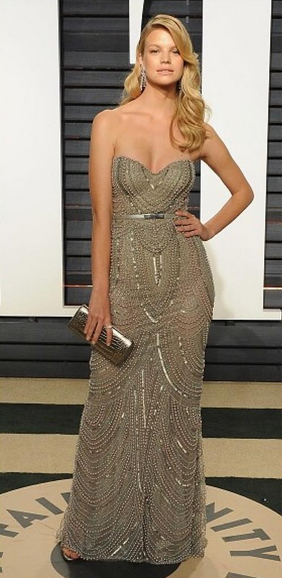 "NADINE LEOPOLD WEARING THE ""STELLA"" SANDALS IN SILVER NAPPA TO THE VANITY FAIR OSCAR PARTY"