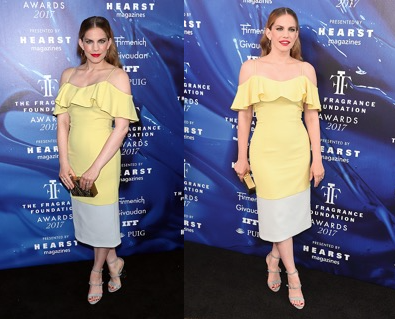 ANNA CHLUMSKY WEARING 'KRISTIN' SANDAL IN SILVER TO THE FRAGRANCE FOUNDATION AWARDS
