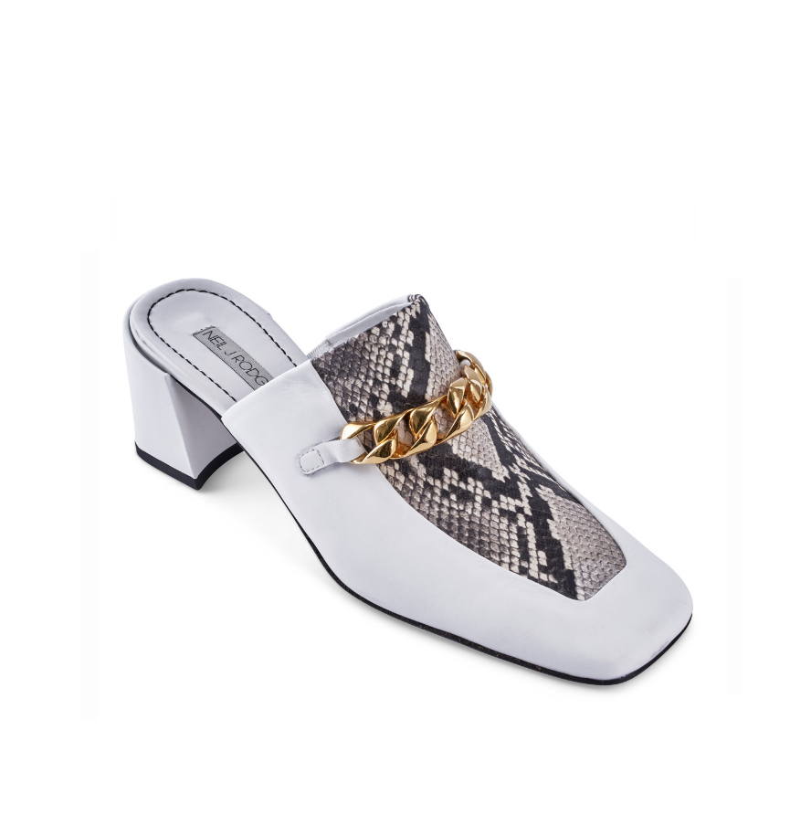 Neil J Rodgers white and python print Laura loafer with chain detail and comfortable block heel.