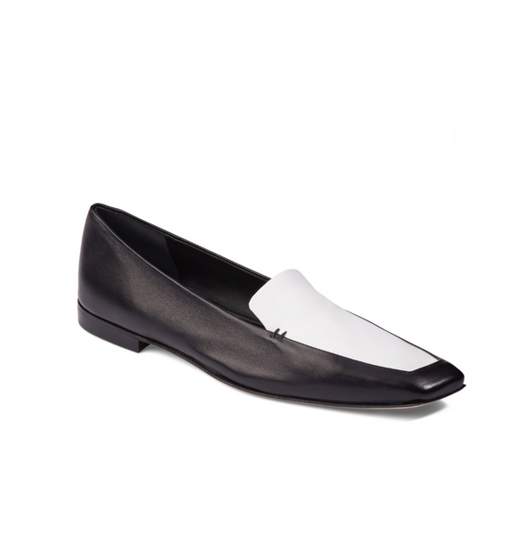 Neil J Rodgers black and white Liscia loafer with a pointed square toe and minimal stitching in soft Italian nappa leather.