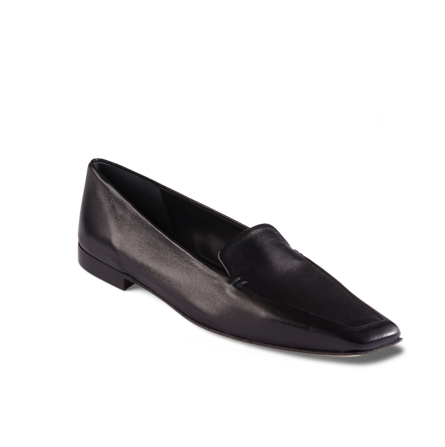 Neil J Rodgers black Liscia loafer with a pointed square toe and minimal stitching in soft Italian nappa leather.
