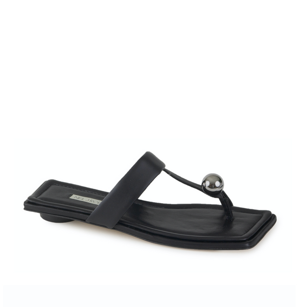 Neil J Rodgers black Samira sandal with a flat footbed, minimal leather straps and silver bead embellishment