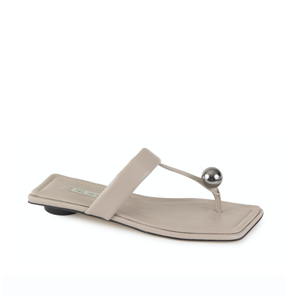 Neil J Rodgers off-white Samira sandal with a flat footbed, minimal leather straps and silver bead embellishment