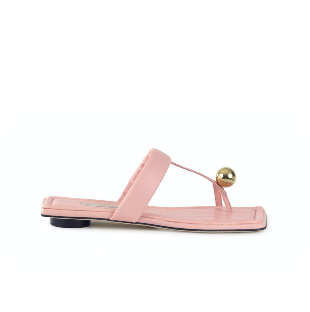 Neil J Rodgers pink Samira sandal with a flat footbed, minimal leather straps and gold bead embellishment