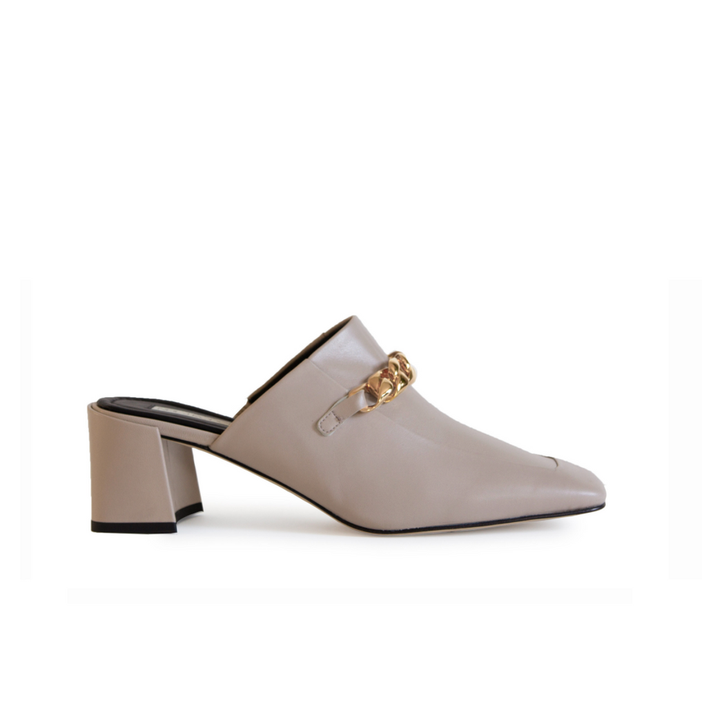 Neil J Rodgers off-white Laura loafer with chain detail and comfortable block heel.