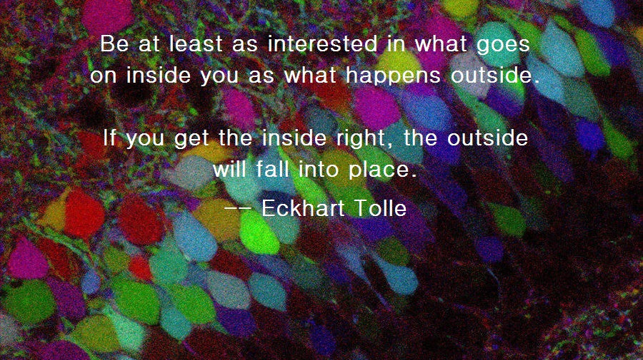 """If you get the inside right, the outside will fall into place"" - Eckhart Tolle"