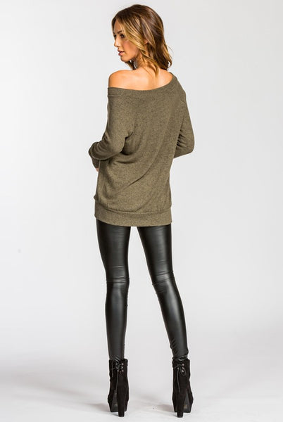Stacey Sweater -Olive - Prairie Rose Boutique