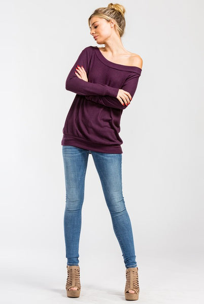 Stacey Sweater-Plum - Prairie Rose Boutique