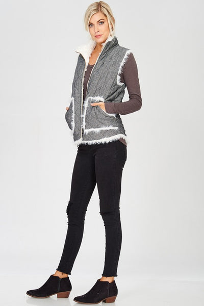Reversible Herringbone Vest - Prairie Rose Boutique