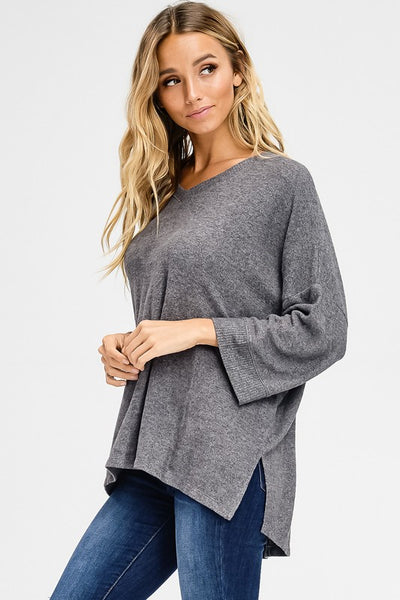 Quinn Top - Charcoal - Prairie Rose Boutique