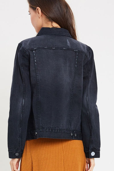 Ellie Classic Denim Jacket - Black - Prairie Rose Boutique