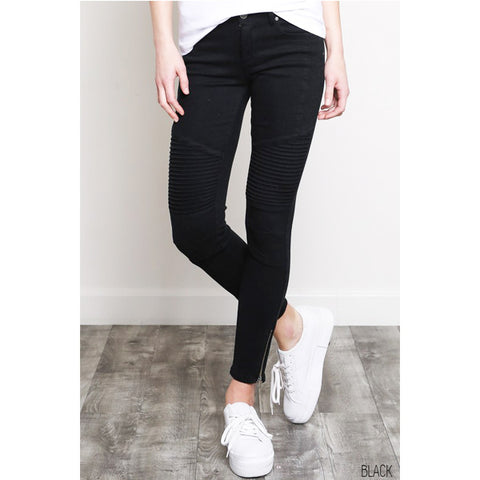 Kat Black Moto Jeans - Prairie Rose Boutique