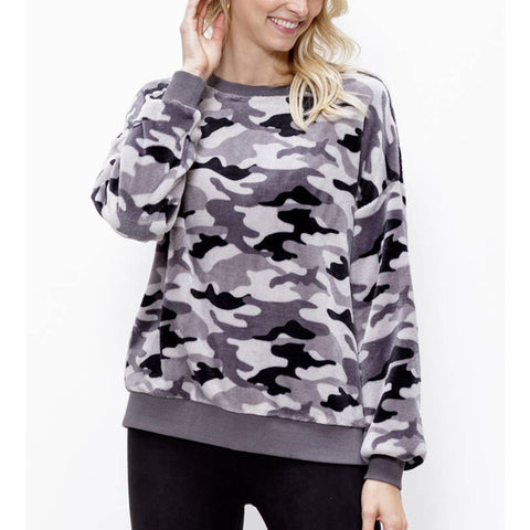 Grey Camo Pullover - Prairie Rose Boutique