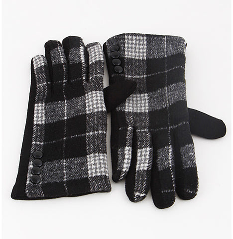 Classic Plaid Gloves - Black
