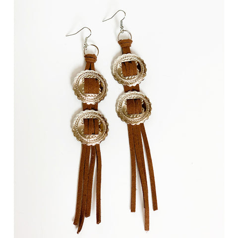 Leather Concho Earrings