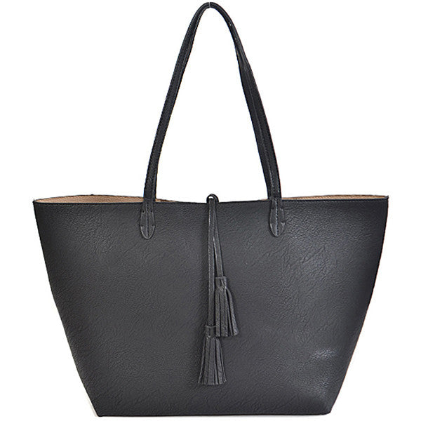 Double Duty Reversible Tote ~ Black - Prairie Rose Boutique