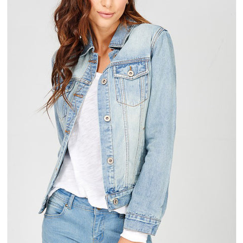 Ellie Classic Denim Jacket - Light - Prairie Rose Boutique