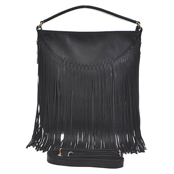 Fabulous Fringe Handbag - Black - Prairie Rose Boutique