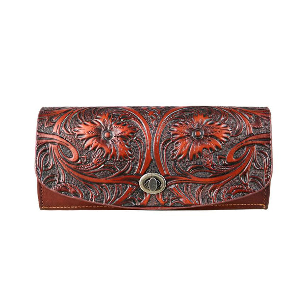 Fancy Leather Clutch - Brown - Prairie Rose Boutique