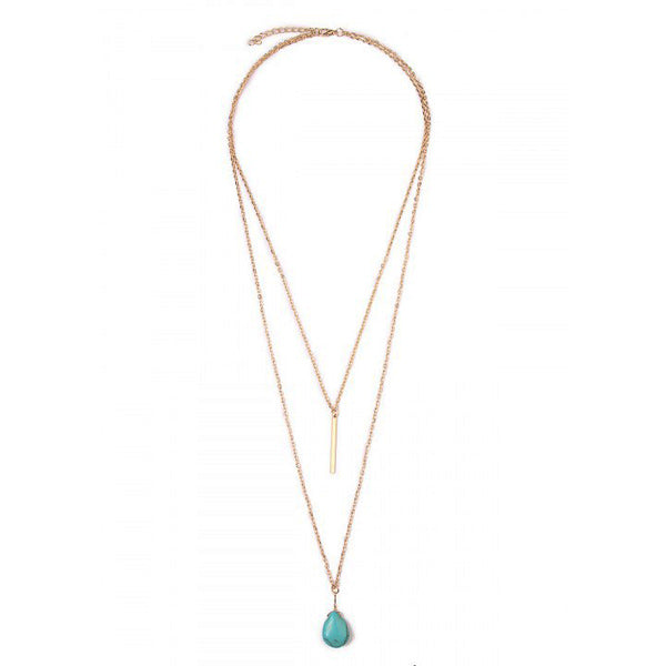 Gold & Turquoise Teardrop Necklace - Prairie Rose Boutique