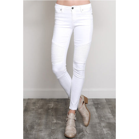 Kat Moto Jeans - White - Prairie Rose Boutique