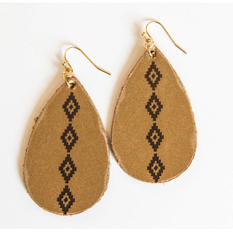 Aztec Leather Earrings - Prairie Rose Boutique