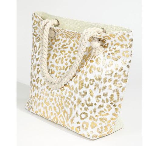Leopard Beach Bag - Prairie Rose Boutique