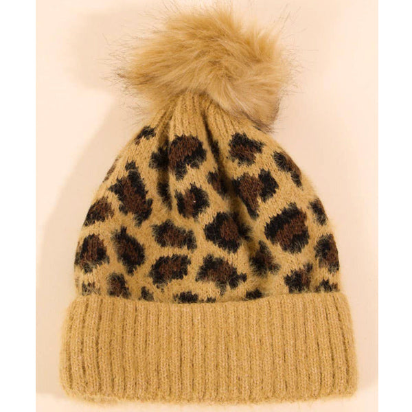 Leopard Beanie - Camel
