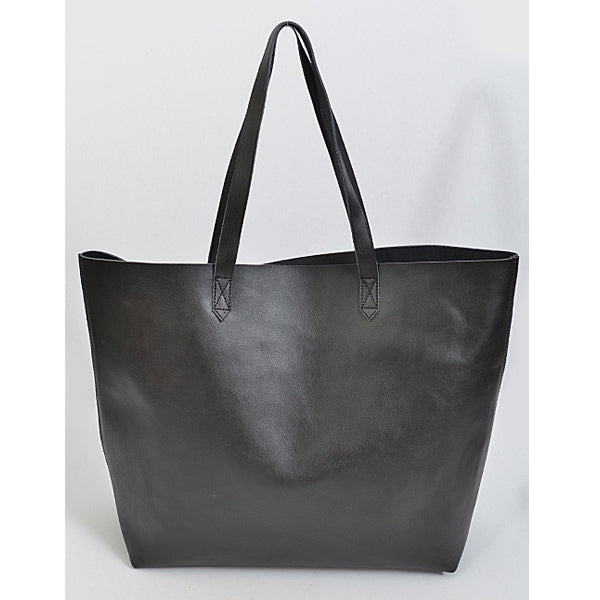 Lovely Leather Tote - Black - Prairie Rose Boutique