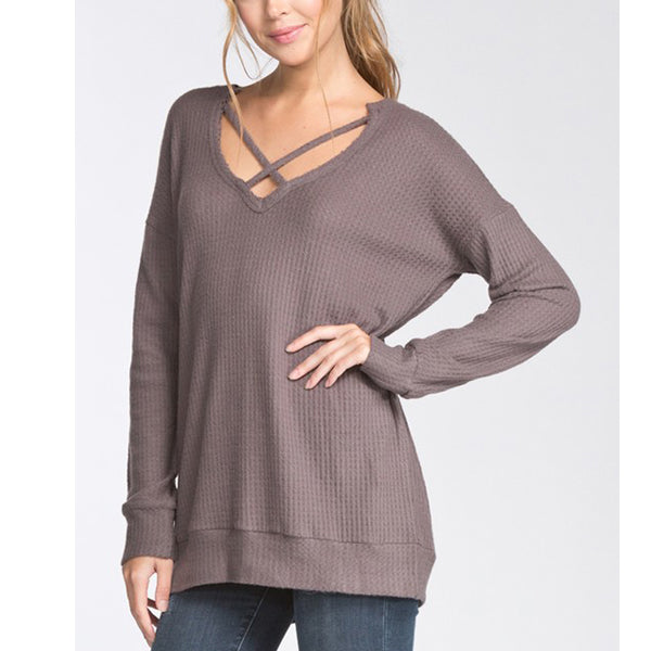 Linsey Top - Mocha - Prairie Rose Boutique