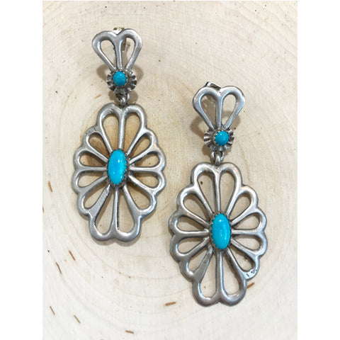 Navajo Sterling Silver Turquoise Earrings - Prairie Rose Boutique