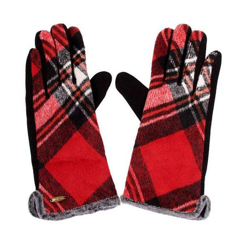 Pretty In Plaid Gloves - Red - Prairie Rose Boutique