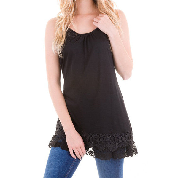 Lace Extender Slip Top - Black - Prairie Rose Boutique
