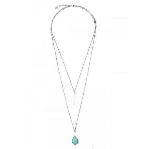Silver & Turquoise Teardrop Necklace - Prairie Rose Boutique